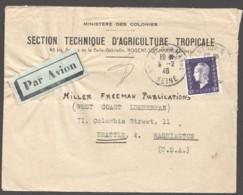 1946 Lettre Avion Pour Les USA  Dulac 50fr  Yv 701 Seul - 1944-45 Maríanne De Dulac
