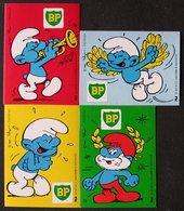 SCHTROUMPFS  SMURF   BP  Lot 4 Autocollants / Stickers  PEYO 1984 BELOKAPI  PORT  OFFERT - Smurfs
