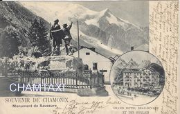 74 CHAMONIX MONT BLANC HÔTEL BEAU RIVAGE ET DES ANGLAIS MONUMENT DE SAUSSURE - Chamonix-Mont-Blanc