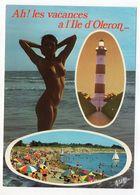 """NU--Jolie Fille Seins Nus --OLERON-17--  """" Ah! Les Vacances ....""""--phare--plage - Célébrités D'époque < 1960"""