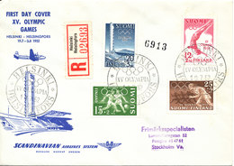 Finland Registered SAS Special Flight FDC XV Olympic Games Helsinki 19-7-1952 - Finlande