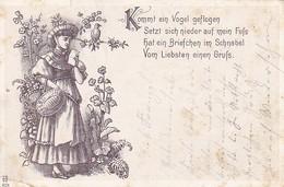 AK Kommt Ein Vogel Geflogen... - Frau Mit Brief - Künstlerkarte Musik - Stempel Stotzheim Bei Euskirchen - 1901 (40189) - Musique Et Musiciens
