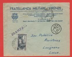 STORIA POSTALE 30.09.1953: Italia Al Lavoro Lire 5, Isolato Su Busta, Fratellanza Militare Firenze (92) - 6. 1946-.. Repubblica