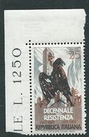 Italia 1954; Decennale Della Resistenza, Francobollo D' Angolo. - 6. 1946-.. Repubblica