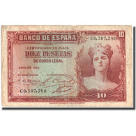 Billet, Espagne, 10 Pesetas, 1935, 1935, KM:86a, TB - [ 2] 1931-1936 : Repubblica
