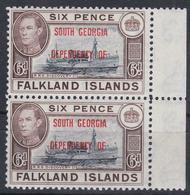 ISOLE FALKLAND DIPENDENZE SUD GEORGIA SUD 1944 Coppia Di 6c , Blu Nero + Marrone, Nuovo Con Gomma Integra - Grande-Bretagne (ex-colonies & Protectorats)