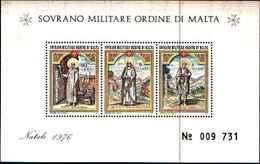 91711) SOVRANO MILITARE ORDINE DI MALTA Natale 1976 M/S Gomma Integra, Non Linguellato BF 10-MNH** - Sovrano Militare Ordine Di Malta