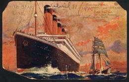 WHITE STAR LINE TITANIC 11 AVRIL 1912 RARE CARTE POSTALE DE BORD VERS TORINO ITALIE - Bateaux