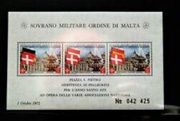 91714) SOVRANO MILITARE ORDINE DI MALTA 1975 Santo Natale M/foglio- BF 8-MNH** - Sovrano Militare Ordine Di Malta