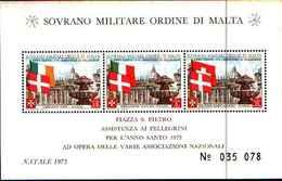 91713) SOVRANO MILITARE ORDINE DI MALTA 1975 Santo Natale M/foglio- BF 9-MNH** - Sovrano Militare Ordine Di Malta