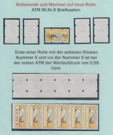 ATM Mi-Nr. 5.1 Dokumentation Rollenwechsel, U.a. Zählnummern 10, 5, 1995, 1990  - BRD