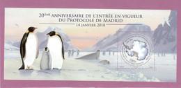 V12- TAAF - Bloc Feuillet F867** MNH De 2018 - PROTOCOLE De MADRID - Carte De L' Antarctique Et Manchots. - Neufs