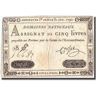 France, 5 Livres, 1792, 1792-07-31, TTB+, KM:A61 - Assignats