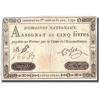 France, 5 Livres, 1792, 1792-07-31, TTB+, KM:A61 - Assignate