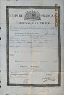 Empire Français, Dispense Définitive, Le Conseil De Recrutement Accorde Une Dispense Définitive De Service Au Sieur..... - Historical Documents