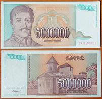 Yugoslavia 5000000 Dinars 1993 Replacement UNC- - Yougoslavie