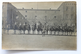Cavalry Unit Posing In Front Of A Building Unidentified Old Real Photo Postcard, Military - To Identify