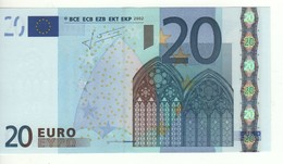 "20 EURO  ""E""   SLOVAKIA    Firma Trichet   G 012 I2   /  FDS - UNC - EURO"
