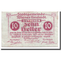 Billet, Autriche, Wiener Neustadt, 10 Heller, Château, 1920, 1920-03-29, SPL - Autriche