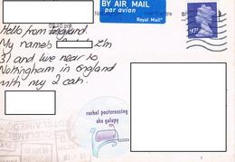 24H : United Kingdom 97p Machin Stamp Used On Argentina Stamp + Postmark  Postcard - 1952-.... (Elizabeth II)