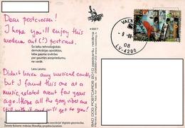24H : Latvia Squirrel Stamp Used On Beautiful Woman Postcard - Latvia