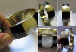 Bracelet Vintage Laiton -nacre-et Bois Exotique - Autres