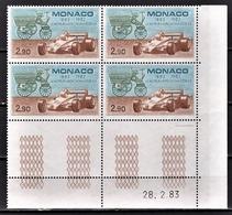 MONACO 1983 - BLOC DE 4 TP N° 1371 / COIN DE FEUILLE / DATE - NEUFS** - Monaco