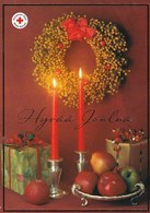 Candles - Christmas Wreath - Presents - Apples - Red Cross - Postal Stationery - Suomi Finland - Postage Paid - Finlande
