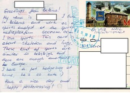 24H : Belarus Tower Stack Chimney Castle Stamp Used On Italian Winter Sport Postcard - Belarus