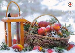 Christmas Basket With Apples - Candle Votive - Red Cross - Postal Stationery - Suomi Finland - Åland - Postage Paid - Finlande