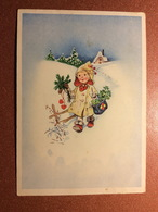 Vintage Christmas Postcard 1940s Rural House In The Snow. Girl With Red Hearts. Festive Decor. Clover, Needles. - Noël