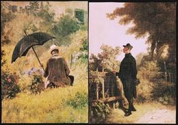 2 X Carl Spitzweg  -  Der Maler Im Garten  -  Rosenduft Erinnerung  -  Ansichtskarten Ca. 1980  (10234) - Peintures & Tableaux