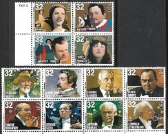 USA   1997   Sc#3157a  32c Opera Block Of 4 & 3165a Composers Strip Of 8  MNH - Etats-Unis