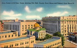 Texas El Paso Civic Center Showing City Hall County Court House And Federal Court House - El Paso