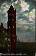Nebraska Omaha City Hall Tower At Night Curteich - Omaha