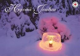 Winter Scene - Landscape - Candle Ice Lantern - Red Cross - Suomi Finland - Itella Post Oy - Postage Payed - Finlande