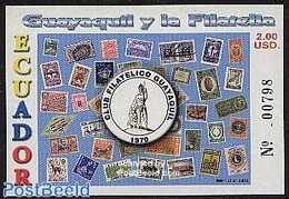 Ecuador 2003 Guayaquil & Philately S/s, (Mint NH), Transport - Railways - Nature - Butterflies - Stamps - Stamp.. - Francobolli Su Francobolli