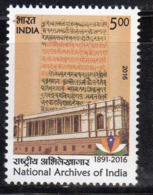 India MNH 2016, National Archives, History, Language, Manuscript - Ungebraucht