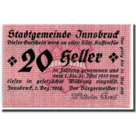 Billet, Autriche, Innsbruck, 20 Heller, Ecusson, 1918, 1918-12-01, SPL - Oesterreich