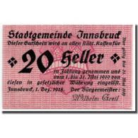 Billet, Autriche, Innsbruck, 20 Heller, Ecusson, 1918, 1918-12-01, SPL - Autriche