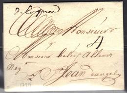 """Cognac (Charente) : Marque """"de Cognac"""" Manuscrite, 1729, Rare Et Superbe, Tampon V.Pothion. - Marcophilie (Lettres)"""