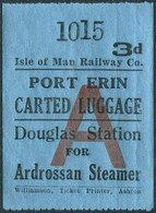 IOM Isle Of Man Railway 3d Luggage Freight PORT ERIN Douglas Station For Ardrossan Steamer Eisenbahn Gepäckmarke Fracht - Trains