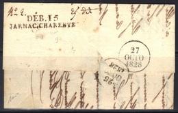Jarnac (Charente) : DEB. 15/JARNAC.CHARENTE En Noir Sur LAC De Tonnay-Charente, 1828, Signée Baudot. - Marcophilie (Lettres)