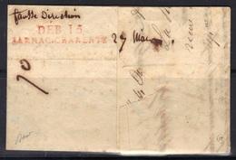 """Jarnac (Charente) : DEB. 15/JARNAC.CHARENTE En Rouge + Manuscrit """"fausse Direction"""" Sur LAC, 1828, Signée Baudot. - Marcophilie (Lettres)"""
