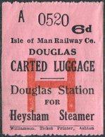 IOM Isle Of Man Railway Co. 6d Luggage Freight Stamp DOUGLAS Station For Heysham Steamer Eisenbahn Gepäckmarke Fracht - Trains