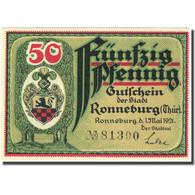 Billet, Allemagne, Ronneburg, 50 Pfennig, Mairie, 1921 SPL Mehl:1133.1b - Deutschland