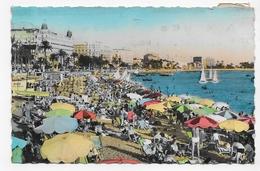 (RECTO / VERSO) CANNES EN 1949 -  LA PLAGE - FORMAT CPA VOYAGEE - Cannes