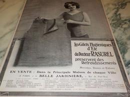 ANCIENNE PUBLICITE LES GILETS HYGIENIQUES D ETE  DU DOCTEUR RASUREL 1910 - Habits & Linge D'époque