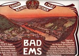 ! BAD EMS, Rheinland-Pfalz, Original, Werbeanzeige, Format 22,7 X 14,5 Cm - Bad Ems