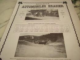 ANCIENNE PUBLICITE SOCIETE DES AUTOMOBILES DE LUXE BRASIER 1910 - Voitures
